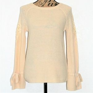 Freshman Tie Sleeve Pullover Sweater Ivory Small